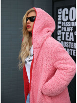 OneBling Plus Size Hooded Longline Faux Fur Jacket with Contrast Liner