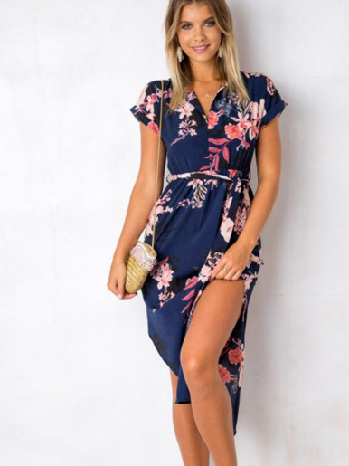Womens Dresses Summer Casual V-Neck Floral Print Pattern Belted Dress
