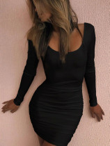 Open Back Long Sleeve Ruched Bodycon Dress