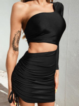 Drawstring Design Cut Out Detail Bodycon Mini Dress with One Sleeve