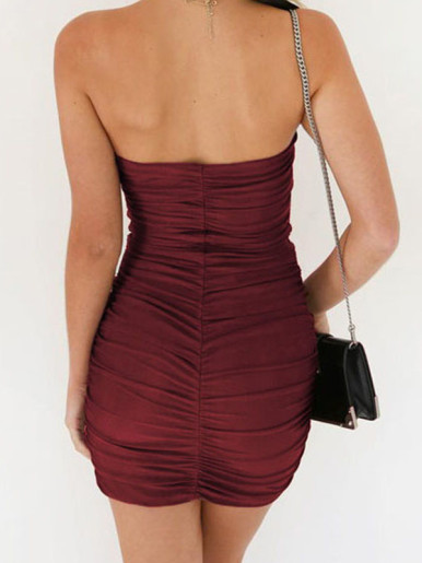 OneBling Bandeau Ruched Bodycon Mini Dress