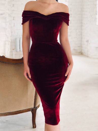 OneBling Foldover Off Shoulder Velvet Midi Dress with Ruched Detail