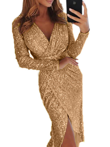 OneBling Plus Size All Over Sequins Wrap Dress with Long Sleeve