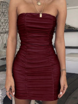 Bandeau Ruched Bodycon Mini Dress