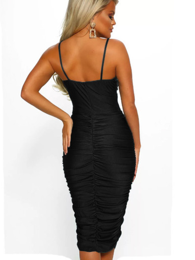 OneBling Wrap Front Cami Straps Ruched Midi Dress