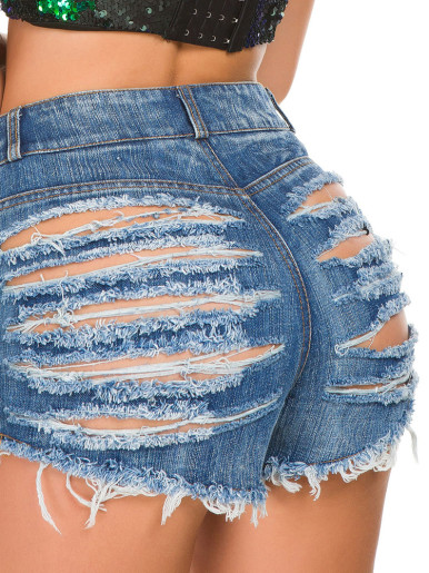High Waist Denim Shorts with Heavy Rips