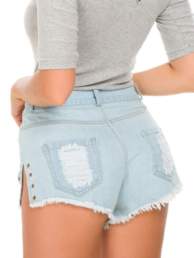 Eyelet Slit Side Denim Shorts with Rips In Light Blue