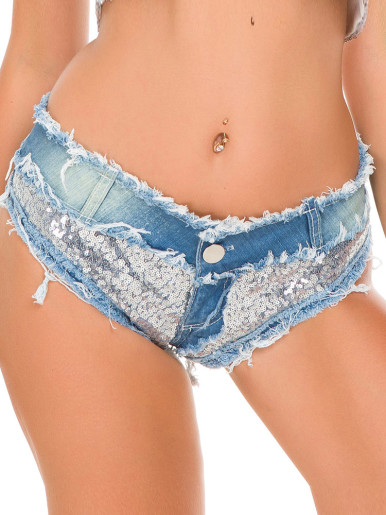 Low Rise Raw Hem Denim Shorts with Sequins