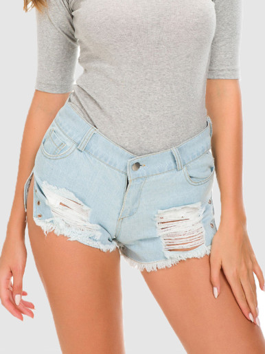 OneBling Eyelet Slit Side Denim Shorts with Rips In Light Blue