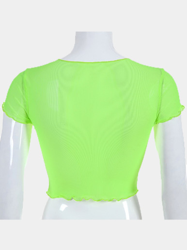 OneBling Sheer Mesh Crop Tops with Lettuce Trim In Bright Green