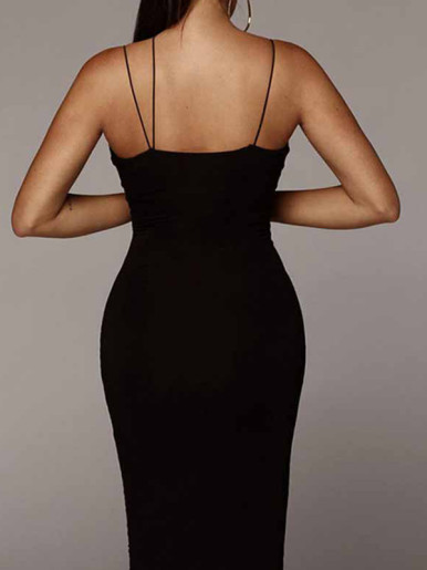 OneBling V Neck Maxi Pencil Dress with Strappy