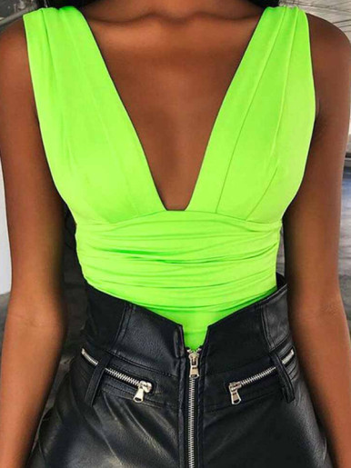 OneBling Plunge Bodysuit with Ruched and Pleated Detail