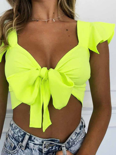 OneBling Crop Tops with Tie Front and Ruffles Sleeve