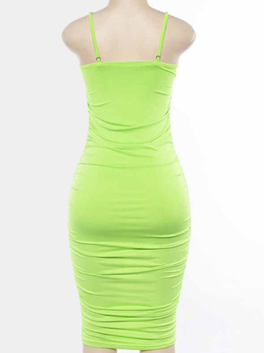 OneBling Ruched Midi Pencil Dress with Adjust Straps