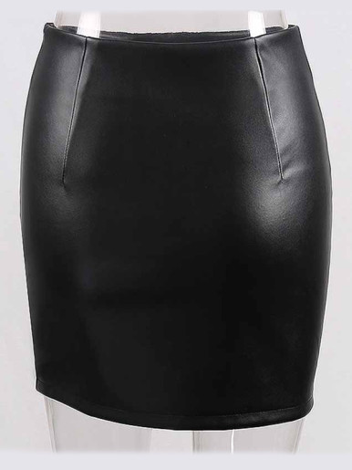 OneBling Asymmetric Hem PU Skirt with Rivets Detail