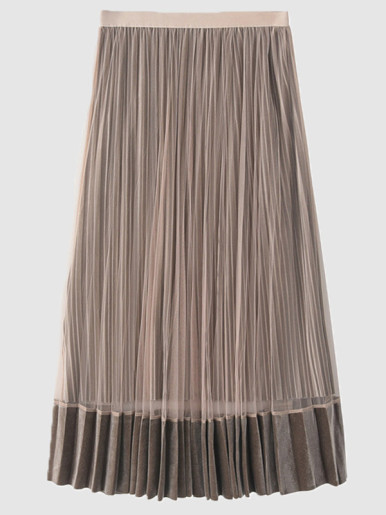 OneBling Pleated Midi Skirt with Mesh Detail and Velvet Hem