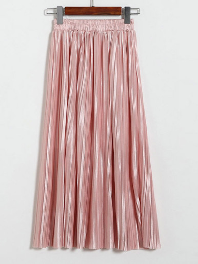 OneBling Solid Color Metallic Pleated Maxi Skirt
