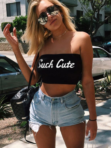 OneBling SUCH CUTE Graphic Bandeau Crop Tops