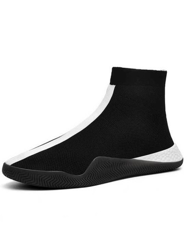 OneBling Lightweight Fly Knit Soft Ankle Boots Men Breathable Slip On Casual Sneakers Jogging Walking Sock Flat Shoes