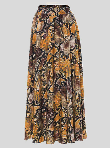Pleated Maxi Skirt In Brown Snake