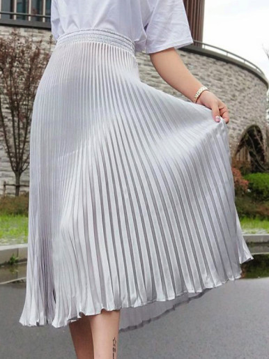 Shiny Pleated High Waist Skirt with Fishtail Hem