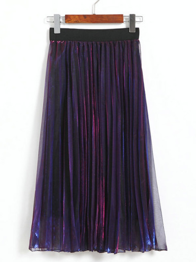 OneBling Metallice Mesh Pleated Skirt with Contrast Waist