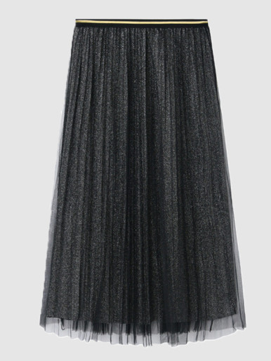 OneBling Pleated Glitter Skirt With Mesh Layer and Contrast Trim