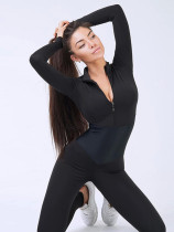 OneBling Long Sleeve Zipper Front Colour Block Fitness Jumpsuit