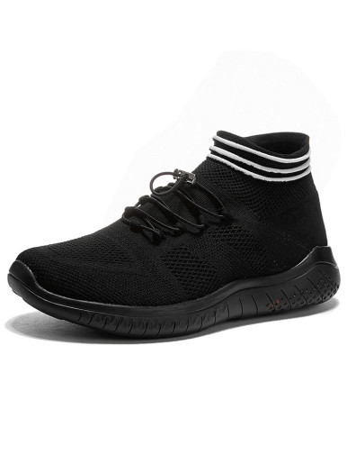 OneBling Breathable Mesh Knitted Sock Shoes 2019 Summer Autumn Lightweight Non-Slip Flat Sneakers Men High Top Walking Trainers