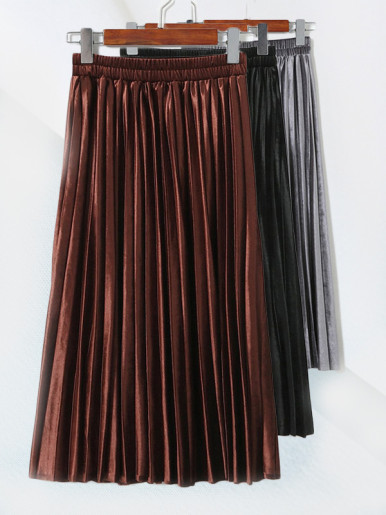 OneBling Elastic High Waist Pleated Velvet Skirt