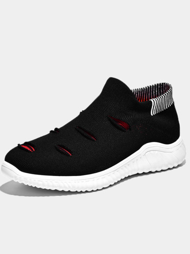 Spring Autumn Platform Flat Slip On Knit Sock Shoes Breathable Lightweight Slip On Men Trainers Walking Sneakers