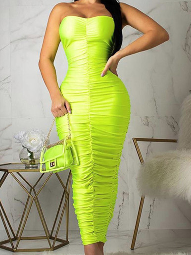 OneBling Ruched Bandeau Maxi Dress