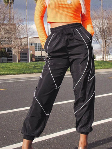 OneBling Black Jogger Trousers with Contrast Piping