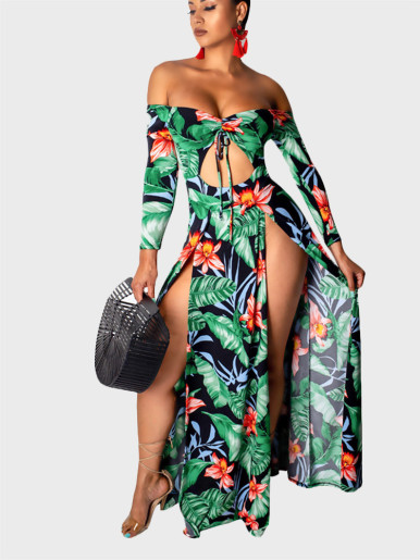 Semi Sheer High Waist Split Dress
