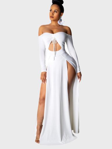 Openwork Long Sleeved Strapless Dress