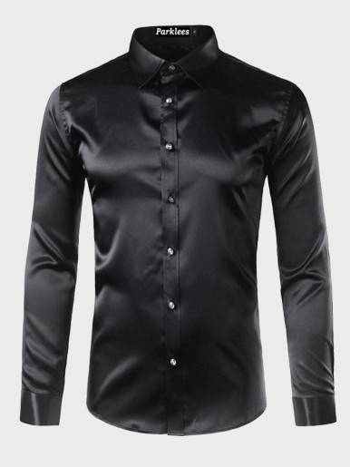 Silk Shirts Men Satin Smooth Solid Tuxedo Shirt