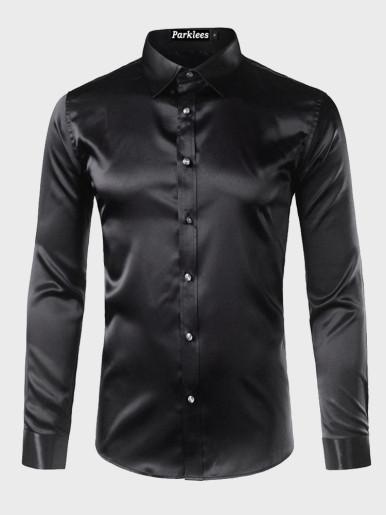 Silk Shirts Men Satin Smooth Solid Tuxedo Shirt