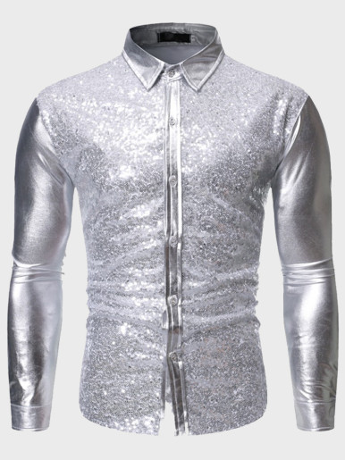 Silver Mens Glitter Sequins Shirts Slim Fit