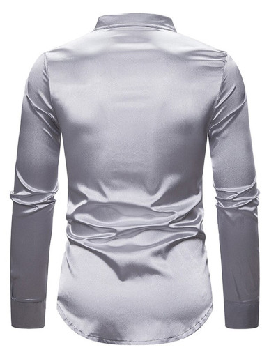 Shiny Silver Satin Sequin Shirt Men Slim Fit