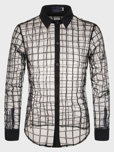 Mens Lace Transparent Shirts Sexy Mesh