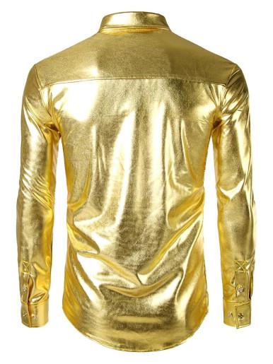 Gold Metallic Men Dress Shirt Nightclub Stage Show