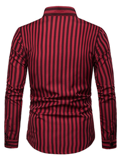 Mens Striped Shirt Lapel Long Sleeve