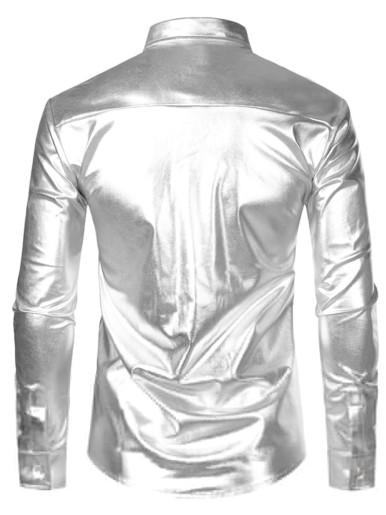Silver Metallic Sequins Glitter Shirt for Men