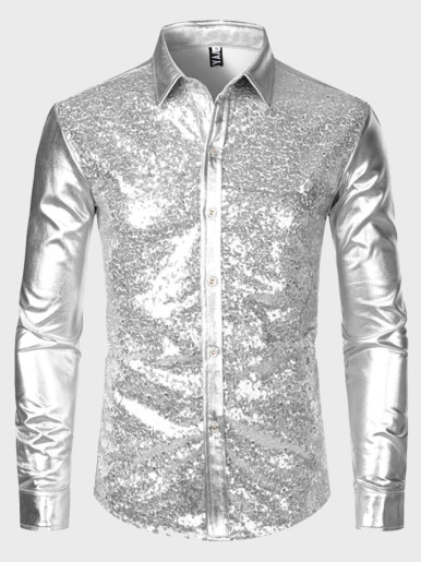 Silver Metallic Sequins Glitter Shirt for Men
