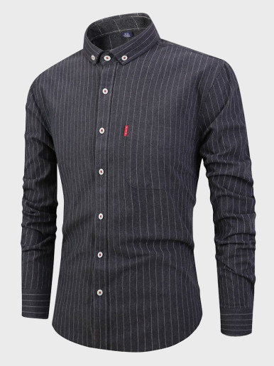 Mens Cotton Striped Shirts High Quality Soft Shirt