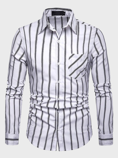 Striped Shirt Men Soft And Comfortable Long Sleeve