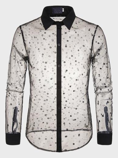 Sexy Black Lace Shirt Men Transparent