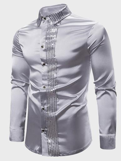 Shiny Silver Satin Sequin Shirt Men Slim Fit