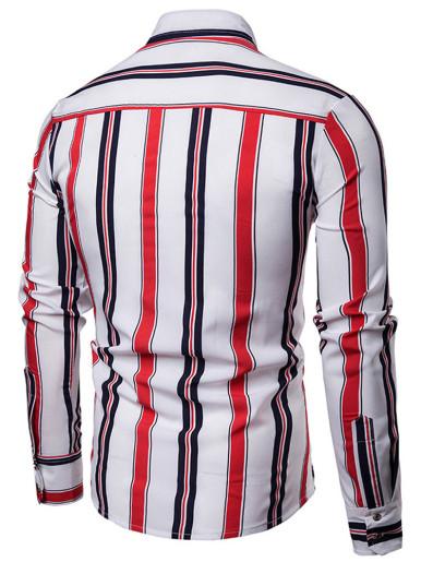 Mens Colorful Striped Shirt Spring Casual Slim Fit