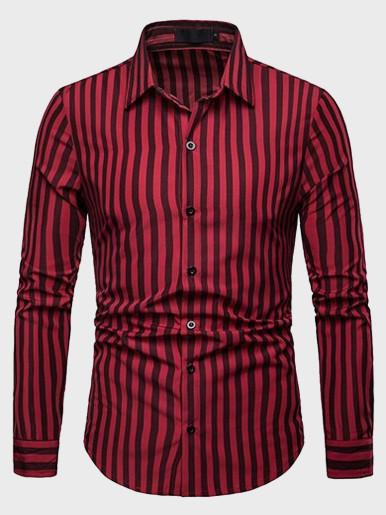 Mens Striped Shirt Lapel Long Sleeve